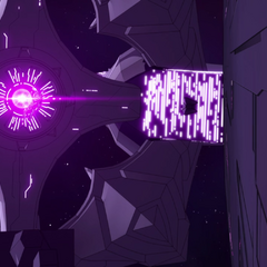Shiro clings to one of the main ship's pylons.