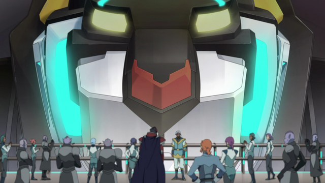 File:S2E07.132. Black Lion looking over gathering of Altean and Galra.png