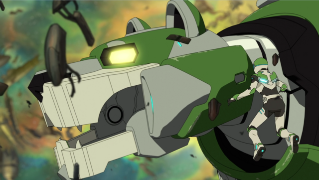 File:S2E01.263. Pidge next to Green Lion's head.png