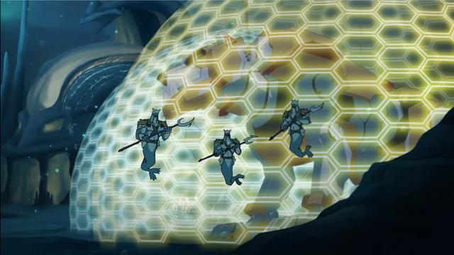 File:S2E02.227. Mermaids guarding shielded Yellow Lion.png