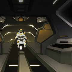 Inside Yellow's cockpit with the seat retracted.