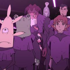 Matt, Shiro, and various aliens face the arena.