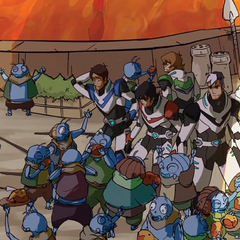 Paladins celebrating with villagers.