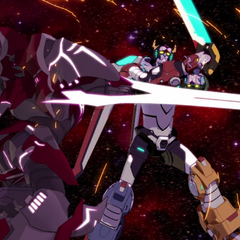 Zarkon's Mechsuit engaging Voltron in a sword fight.
