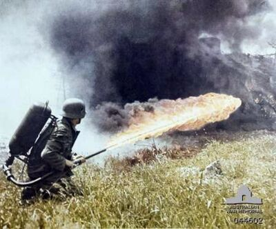 German soldier with flamethrower c1941