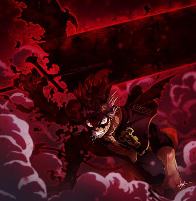 Black Clover 3 horned Black Asta fan art by Ediplus and render by Epsilon R