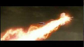 Godzilla uses his Red Atomic Spiral Ray breath on Kaiser Ghidorah (Final Wars 2004)