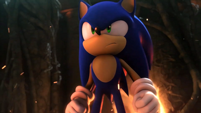 Sonic standing in front of the fire.