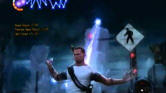 Cole draws power from a lightning storm (infamous 2)