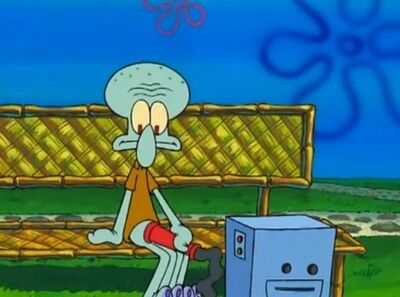 Out of context Squidward leafblower