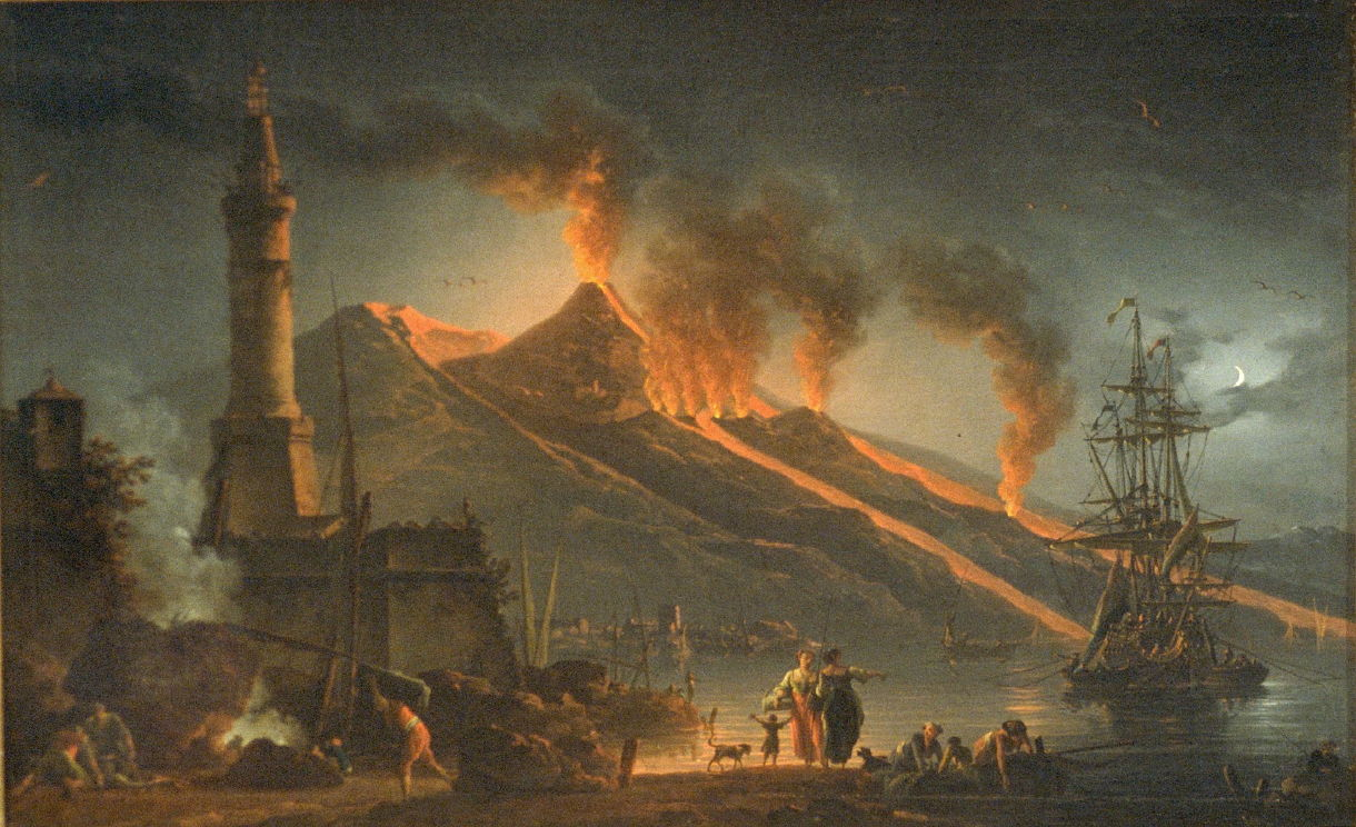 the ominous cloud of destruction hovers at mt vesuvius A series of small emissions from mt vesuvius - for several days previously there had been earth tremors midday - 1pm-3pm after several small explosions vesuvius erupts, sending a tall mushroom cloud of superheated rock and gas over 20km into the sky the cloud blows southwards.