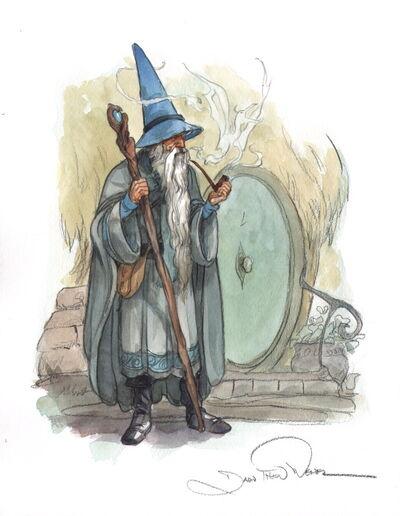 Hobbit-lord-of-the-rings-original-watercolor-water-color-art-gandalf-1