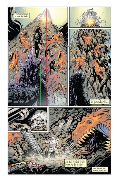 Godzilla breaks Mount Olympus