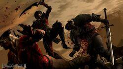 Hawke fighting Qunari