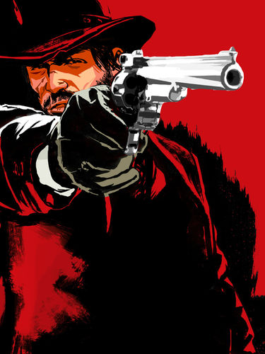Rdr-john-marston-with-gun-on-a-red-background
