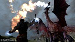 Hawke fighting a dragon