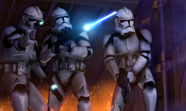 Clone Troopers with blasters