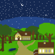 Forest, Houses, Night, and Stuff