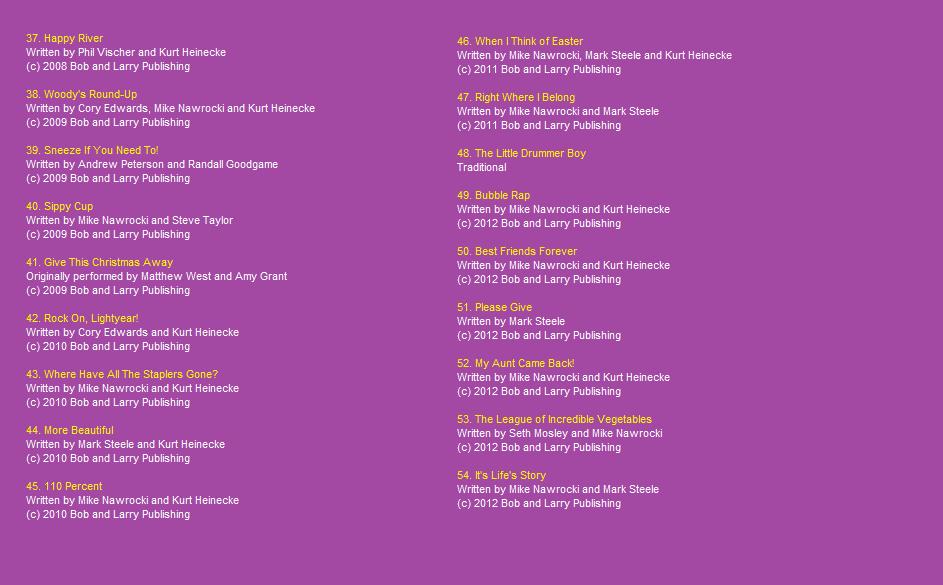 Image - Kidz Bop Sings VT Song List Page 3.png | VeggieTales Fanon ...