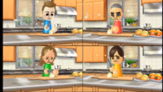 Takashi, Kathrin, and Hiromi participating in Chop Chops in Wii Party