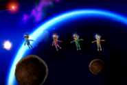 Marco, Hiromi, and Misaki participating in Moon Landing in Wii Party