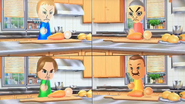 Jessie, Takashi, Ursula and Marco participating in Chop Chops in Wii Party