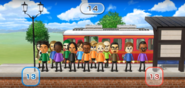 Misaki, Abby, Sandra, Tatsuaki, Hiromi, Julie, Ian, Shouta, Pierre, and Hiroshi featured in Commuter Count in Wii Party