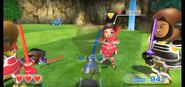 Misaki (center) wearing Red Armor in Swordplay Showdown