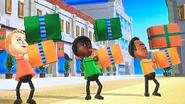 Jessie, Sarah and Tommy participating in Shifty Gifts in Wii Party