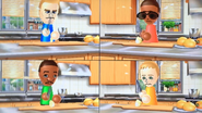 Tyrone, Gwen, James and Jessie participating in Chop Chops in Wii Party