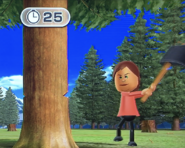 Steph participating in Timber Topple in Wii Party