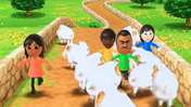 Misaki, Haru, Tommy and Sarah participating in Ram Jam in Wii Party