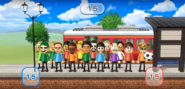 Holly, Megan, Barbara, Shinnosuke, Victor, Rin, and Jessie featured in Commuter Count in Wii Party