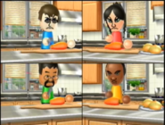 Eva, Kentaro, and Eduardo participating in Chop Chops in Wii Party