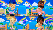 Miguel, Jessie and Haru participating in Cry Babies in Wii Party