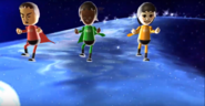 Shinta, Sandra, and Rin participating in Space Brawl in Wii Party
