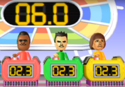 Tommy, Saburo, and Mike participating in Stop Watchers in Wii Party