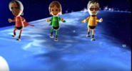 George, Yoko, and Akira participating in Space Brawl in Wii Party