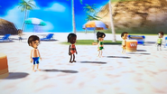 Luca, Sandra, Eva and Shinta participating in Flag Fracas in Wii Party