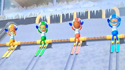 Tommy, Julie and Nelly participating in Jumbo Jump in Wii Party