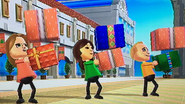 Ursula, Fumiko and Fritz participating in Shifty Gifts in Wii Party