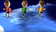 Anna, Helen, and Sota participating in Space Brawl in Wii Party