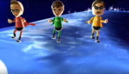 Nick, Luca, and Vincenzo participating in Space Brawl in Wii Party