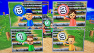 Fumiko, Cole and Oscar participating in Strategy Steps in Wii Party