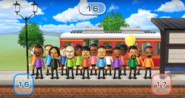 Lucia, Hiroshi, Barbara, Tatsuaki, Pierre, Ian, Haru, Shinnosuke, Tommy, Daisuke, Miguel, Theo, Sarah, Kentaro, Matt, and Andy featured in Commuter Count in Wii Party