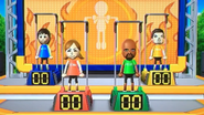 Rin, Lucia, Matt and Pablo participating in Chin-Up Champ in Wii Party