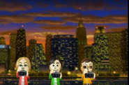 Eddy, Takumi, and Asami participating in Saucer Snap in Wii Party