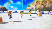 Naomi, Asami, Hiromasa and Tyrone participating in Flag Fracas in Wii Party