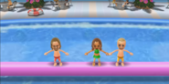 Ryan, Naomi, and Fritz participating in Splash Bash in Wii Party