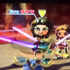 Another photo of Eva (Left) as a rival in Swordplay Showdown with Chika (Middle) and Abe (Right).